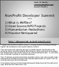 NonProfit Developer Summit Wrap-Up Presented at PyHou - Houston's Python Meetup