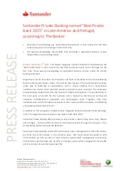 "Santander Private Banking named ""Best Private  Bank 2015"" in Latin America and Portugal,  according to The Banker"