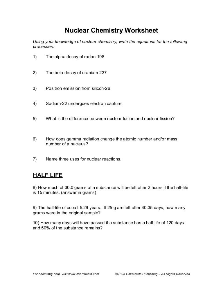 Printables Chemistry Review Worksheets nuclear chemistry half life worksheet