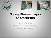 Nursing Pharmacology - Anaesthetics...