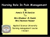 Nursing role in pain management