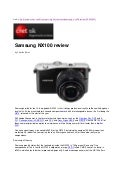 Samsung NX100 review by Cnet UK