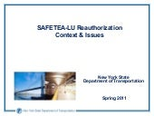 SAFETEA-LU ReauthorizationContext ...