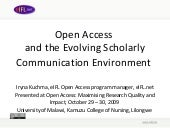 Open Access and the Evolving Schola...