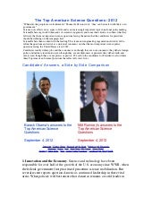 Obama and Romney on Science, Innova...