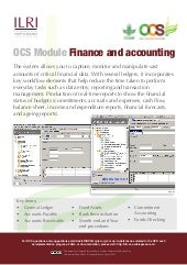 OCS Module—Finance and accounting