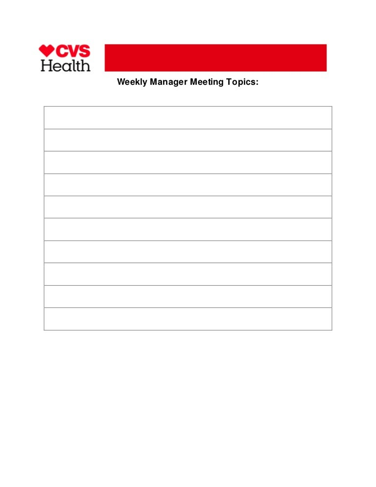 Weekly Manager Meeting Topics