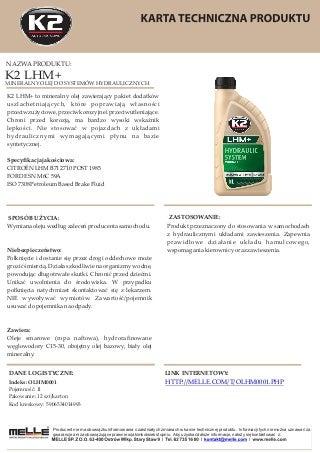 OLHM0001 K2 LHM+ - Mineralny olej do systemów hydraulicznych