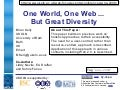 One World, One Web ... But Great Diversity