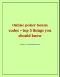 Online poker bonus codes – top 5 things you should know