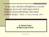 On syllabus design tefl32011