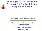 Ontology based metadata schema for ...