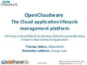 OpenCloudware The Cloud applicaton ...