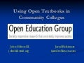 Using Open Textbooks in Community Colleges