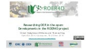 Researching OER in the open: Developments in the ROER4D project