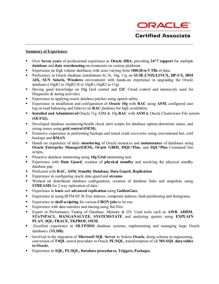 Sample Oracle Dba Resume - Gse.Bookbinder.Co