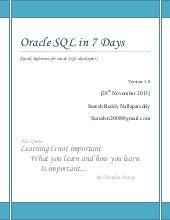 Oracle sql in 7 days by suesh.n v 1.0