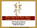 Orchard School Cross Cultural Communication