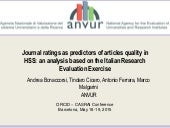 Journal ratings as predictors of article quality in HSS: an analysis based on the Italian research evaluation exercise