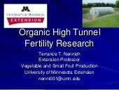 Organic High Tunnel Fertility Research