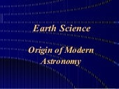 Origins of mordern astronomy
