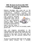 Osi announces accurate hcc coding services for healthcare providers