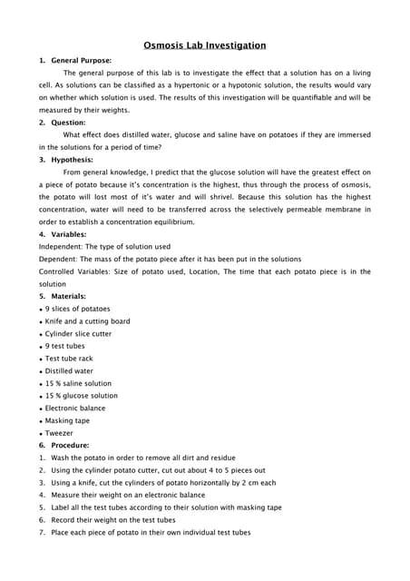 Ib biology lab report sample