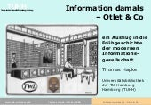 Information damals - Otlet & Co