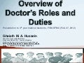 Overview of doctor's roles and duties ghaiath