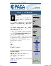 PACA March 2010 Newsletter