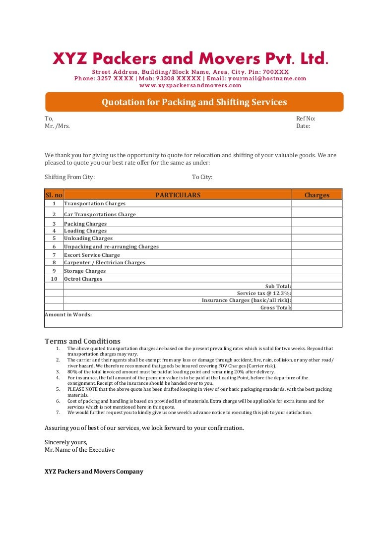 quotation format word weekly report format in excel quotations format fax cover sheets template bol template packers and movers quotation format 140121044053 phpapp01