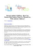 Parents autistic children   how can parents find leisure time for themselves, with autistic children