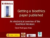 Getting a bioethics paper published