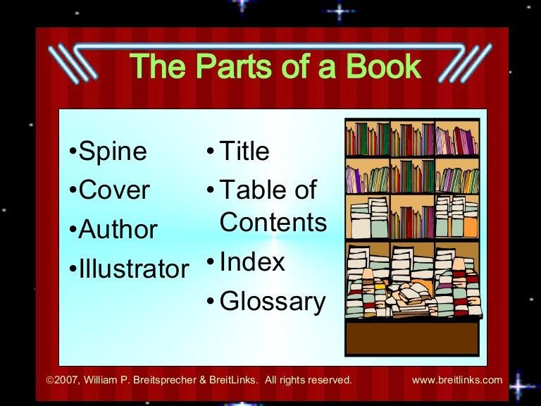 Book Parts Description Parts of Book