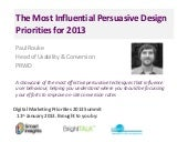 Persuasive design priorities 2013