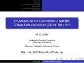 Unentangled Bit Commitment and the ...