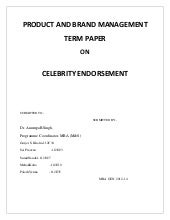 Report on Celebrity Endorsement