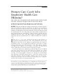 Why Emplyers care about Pimary care 2008