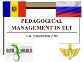 Pedagogical management in ELT