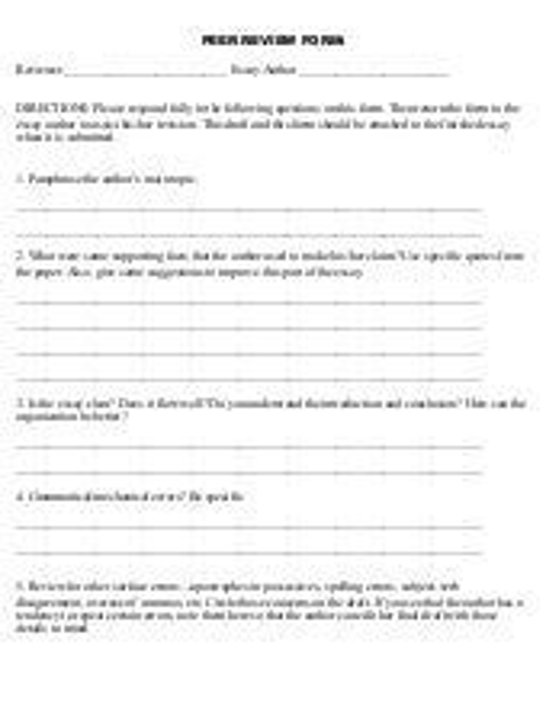 Illustration essay peer review