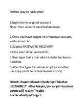Perfect way to hack gmail