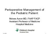 Perioperative Evaluation and Treatm...