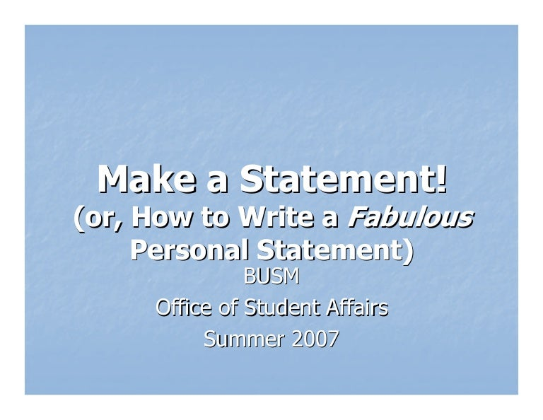 personal statement definition