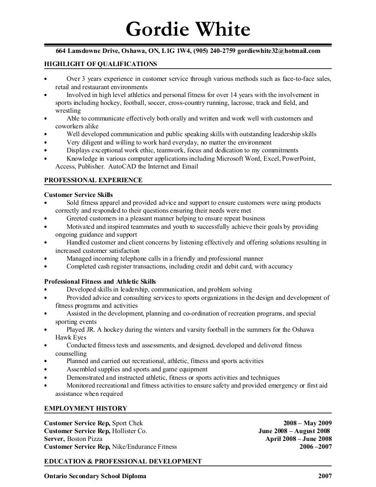 Personal Training Resume Highlight Of Qualifications Professional Fitness Trainer  Resume Example  Trainer Resume