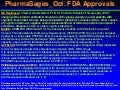 Pharma sages oct fda approvals
