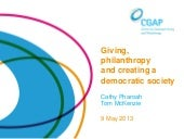 Giving, philanthropy and creating a...
