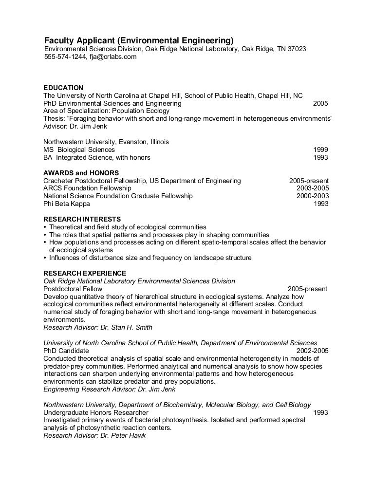 phd cv ecology faculty - Tour Guide Resume
