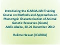 Introducing the ICARDA-ILRI Training Course on Methods and Approaches on Phenotypic Characterization of Animal Genetic Resources (Goats), Addis Ababa, 20-21 December 2012