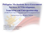 Phil Mechanisms for e-Gov, ICT Devt...