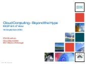 Cloud Computing - Beyond the Hype